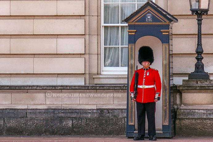 Changing of the Guards at Buckingham Palace and St James's Palace in London.