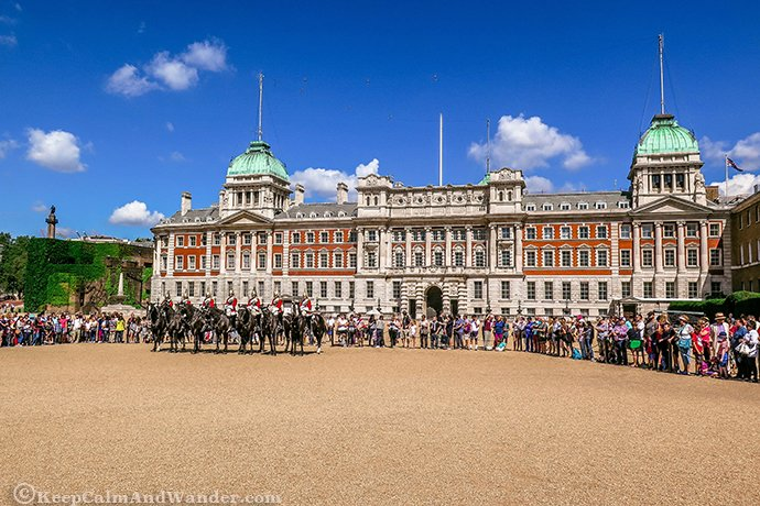 Changing of the Guards at St James's Palace and Buckingham Palace in London.
