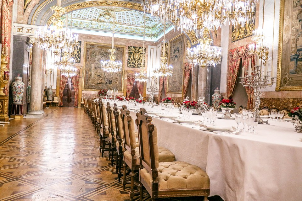 The Banquet Hall inside the Royal Palace (Palacio Real) of Madrid (Spain).
