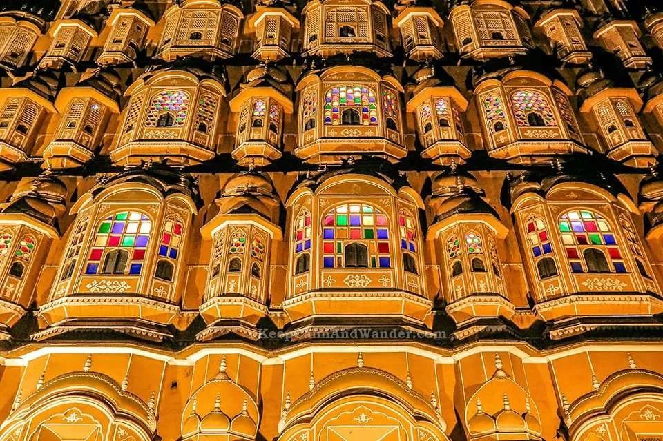 Hawa Mahal (Palace of the Winds) at Night (Jaipur, Rajasthan, India)
