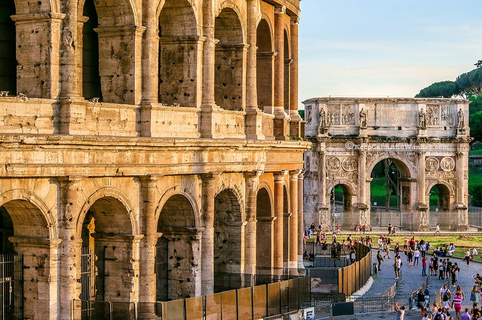 The Beauty of the Roman Colosseum Facade (Rome, Italy).