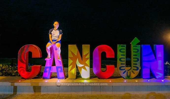 One Day Sightseeing Tour Outside Cancun (Cancun Sign, Mexico).