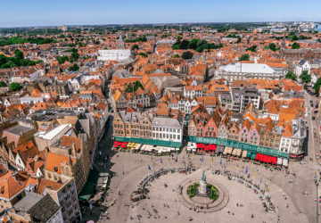 I Climbed the Belfry and This is the View of Bruges Skyline from the Top (Belgium).