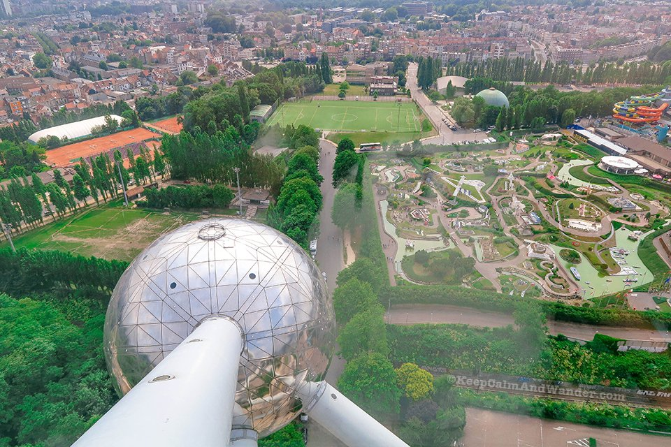 City Skyline: View of Brussels Panorama from the Top of the Atomium (Belgium).