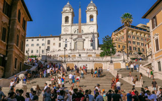 Finding Romance at the Spanish Steps in Rome (Italy).