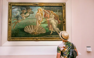 The Birth of Venus by Sandro Botticelli at Uffizi Gallery Museum in Florence (Italy).