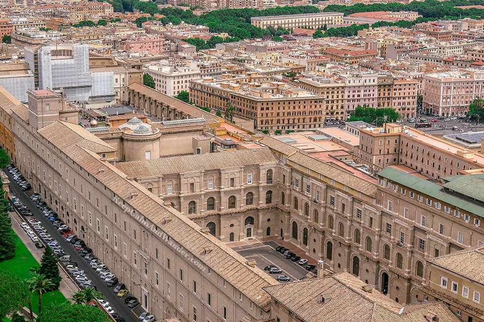 Sistine Chapel City Skyline: Vatican from the Top of St Peter Basilica (Rome, Italy).