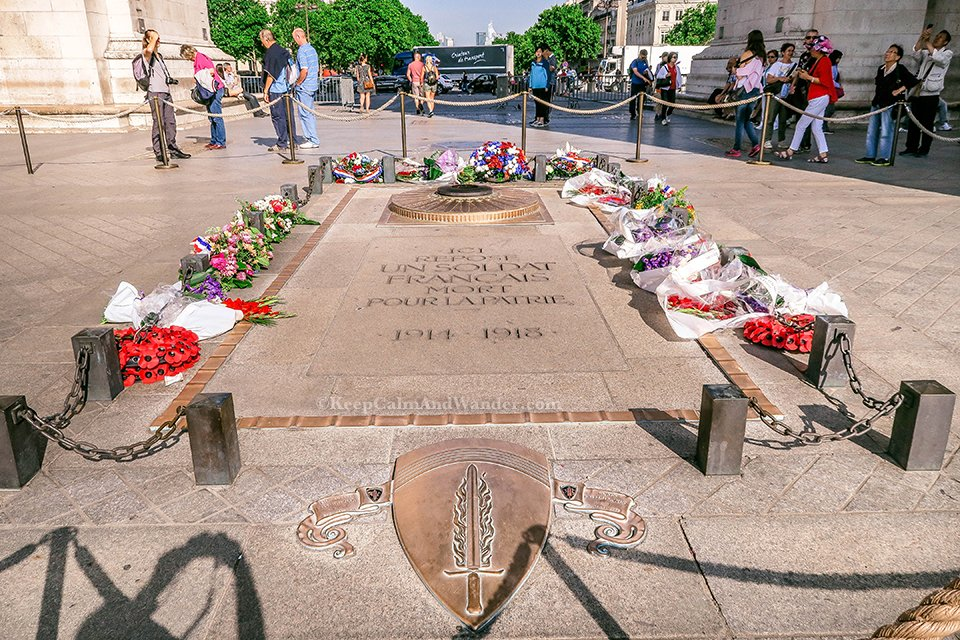 The Tomb of the Unknown Soldier At Arc Arc de Triomphe in Paris (France).