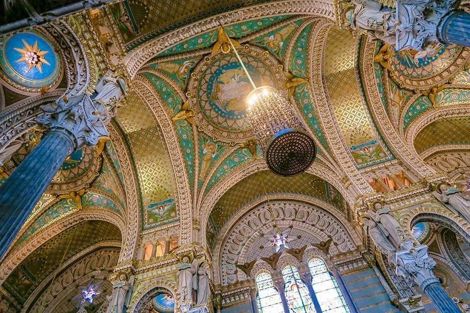 Interior Basilica of Notre-Dame de Fourvière Guards the City of Lyon (France).