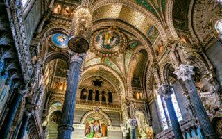 Basilica of Notre-Dame de Fourvière Guards the City of Lyon (France).