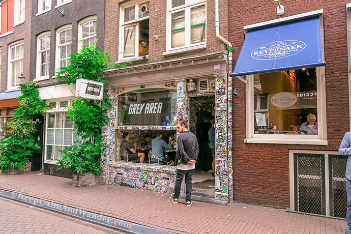 This Grey Area Cafe is a few steps away from the narrowest house in Amsterdam.
