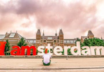 I Had a Photo Op at I Amsterdam Letters and the Sky Turned Pink!