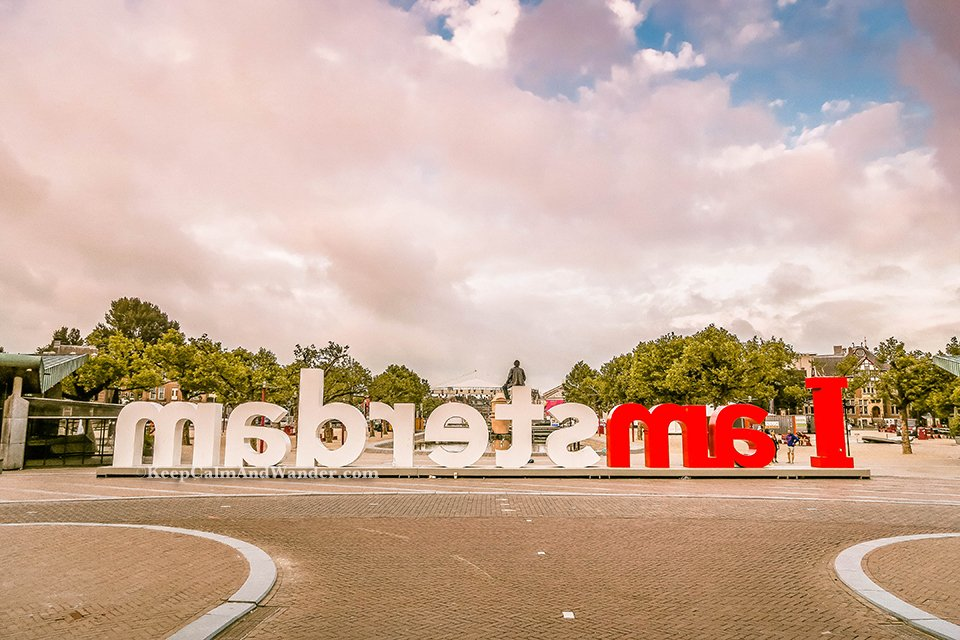 I Had a Photo Op at I Amsterdam Sign Statue letters and the Sky Turned Pink!