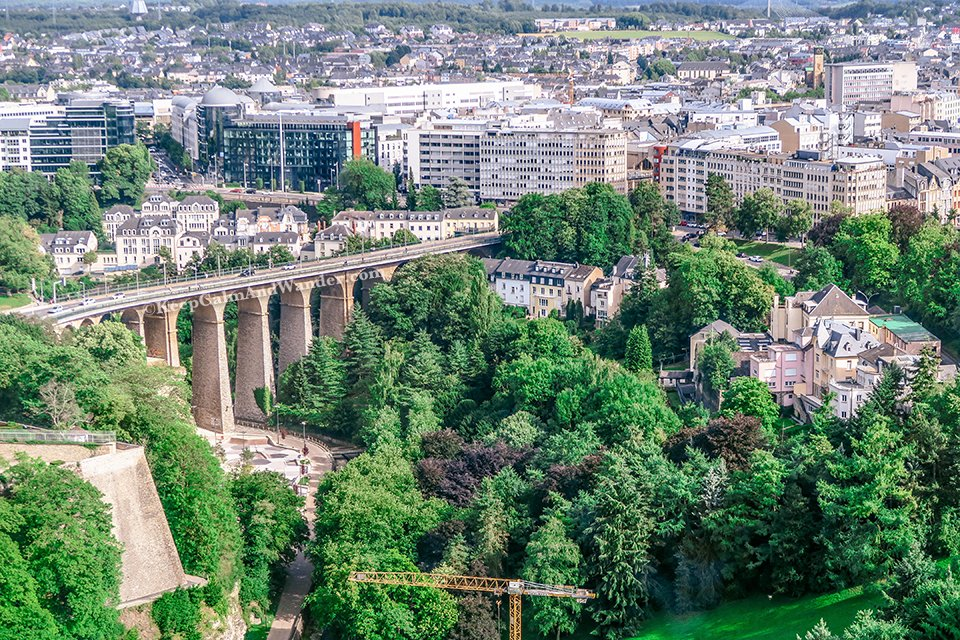 The Views of Luxembourg City from the top of Sky City Liner.