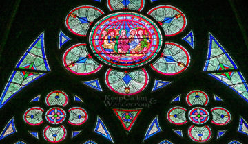 The Stained Glass Windows at Notre Dame Paris (France).