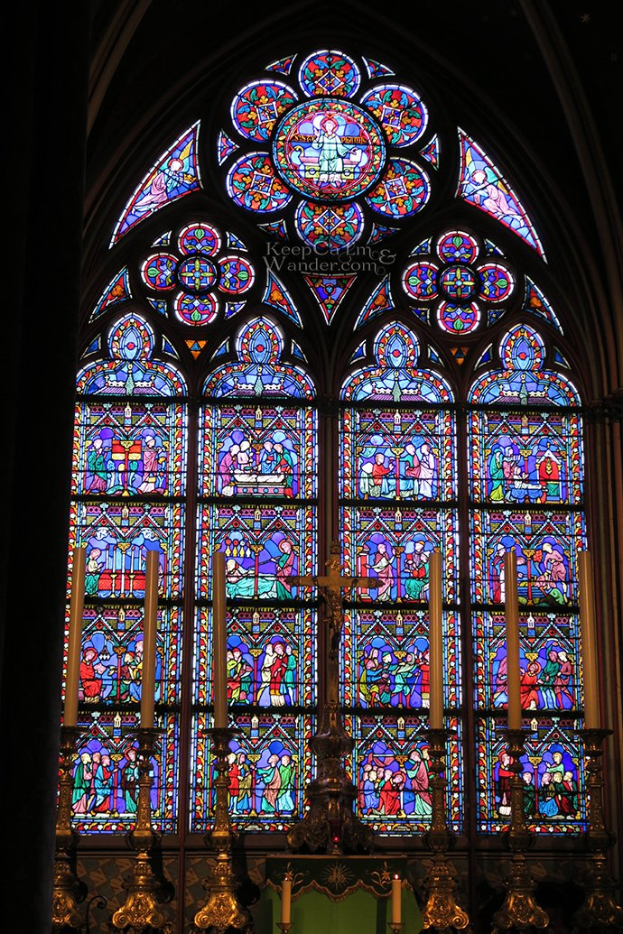 The Stained Glass Windows at Notre Dame Cathedral in Paris (France).