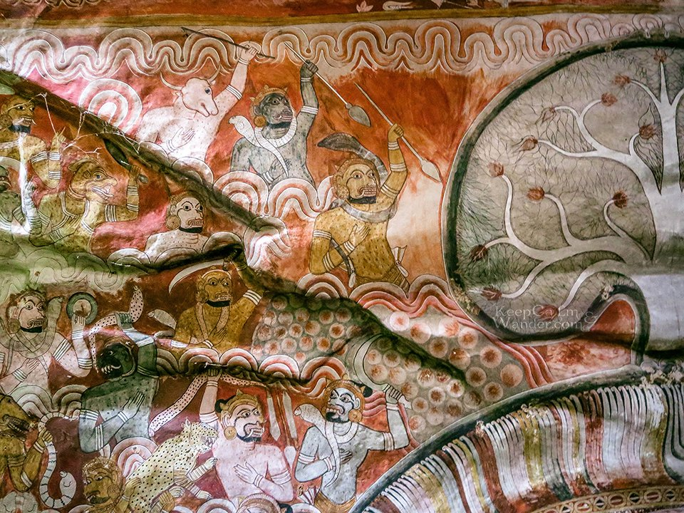 The Murals and Frescoes Inside the Dambulla Rock Cave Temple (Sri Lanka).
