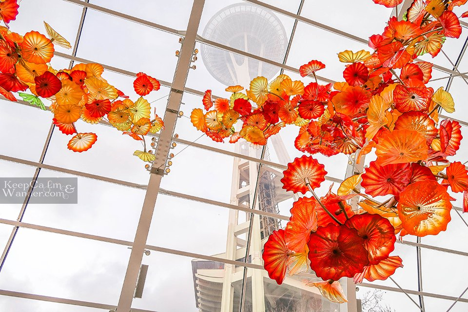 Inside Chihuly Glass Museum in Seattle (USA).
