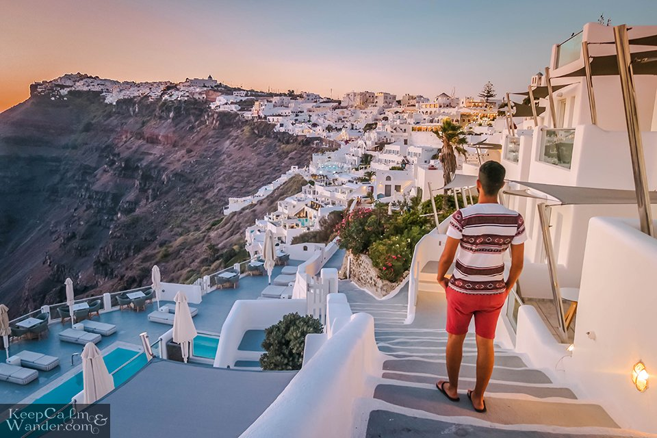 Find your perfect spot to watch the sunset in Santorini.