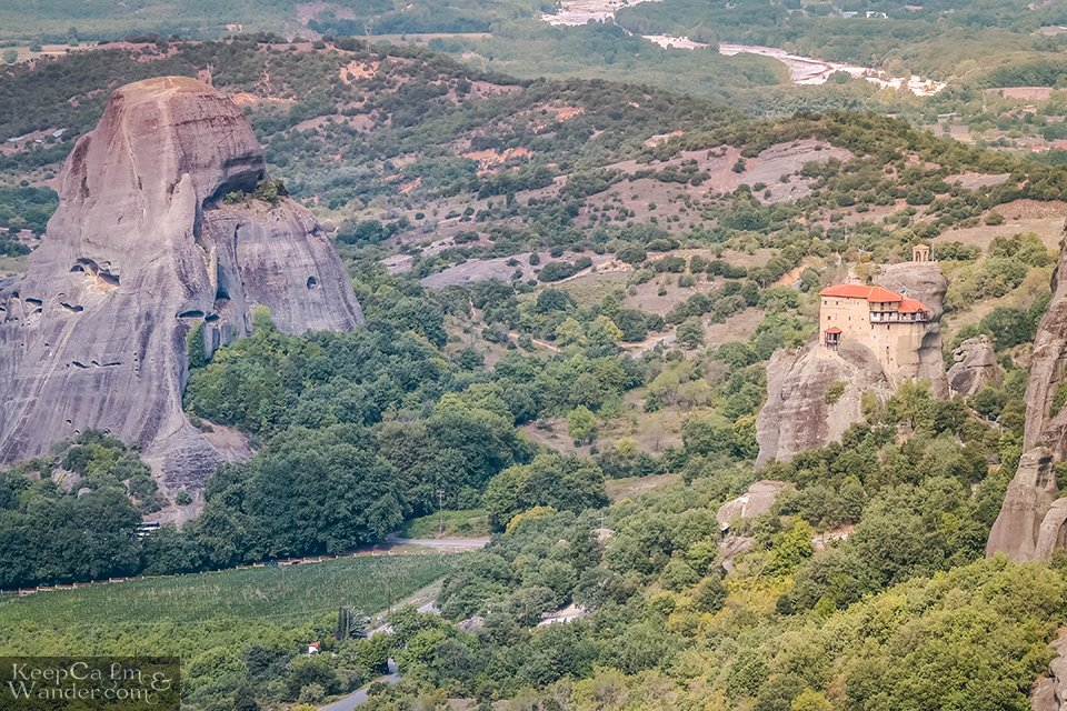 The landscape of Meteora from the viewing platform (Greece).