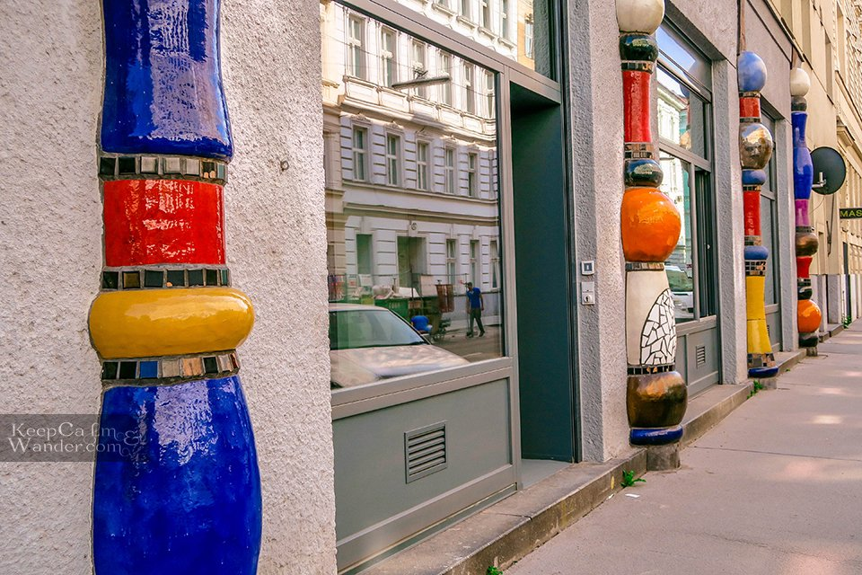colourful posts in house Vienna Hotel hostel