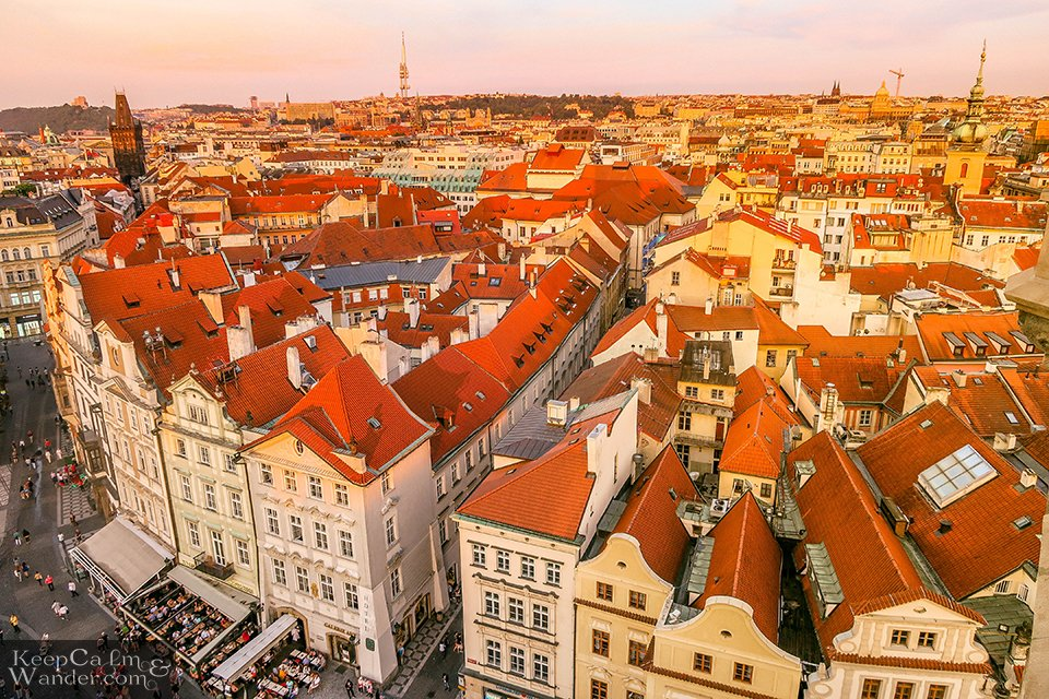 sunset in Praha Old Tower
