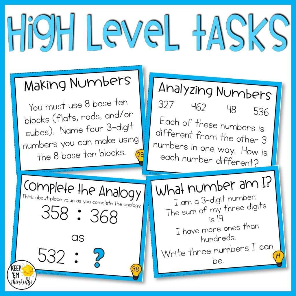 place value task cards performance tasks