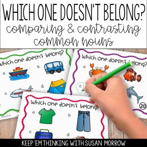 common noun task cards which one doesn't belong strategy