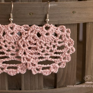boho rose quartz crochet earring