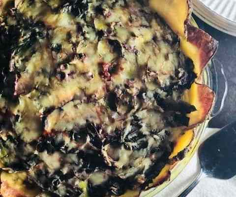 Potato Crusted Swiss Chard and Bacon Quiche
