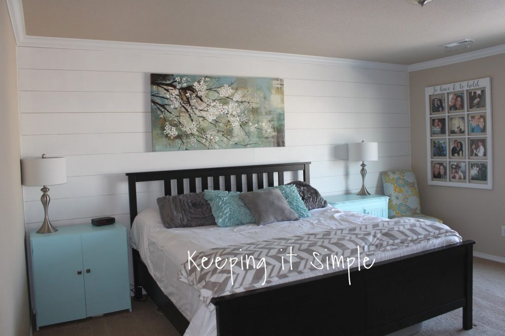 shiplap wall in a master bedroom