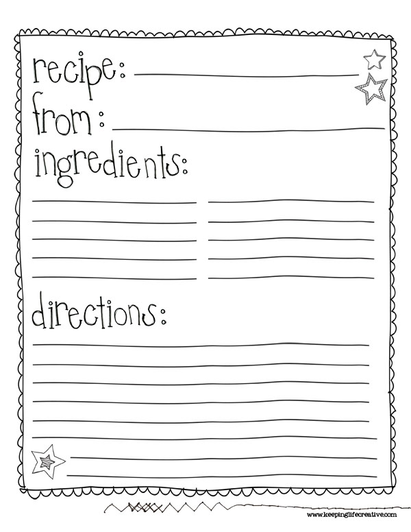 It's just a photo of Lucrative Printable Recipe Templates