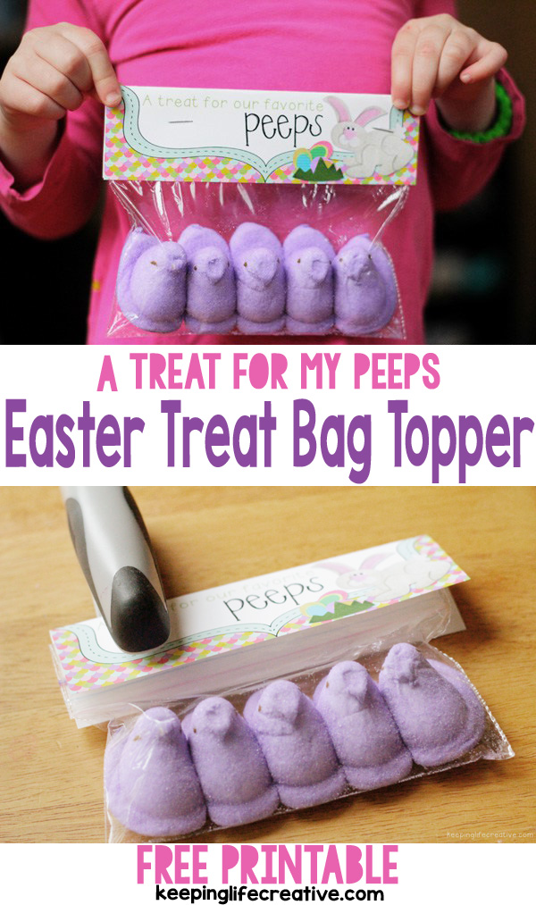 "Download a FREE Printable Easter Treat Bag Topper and put together an easy, cute, and ""cheep"" gift for your favorite ""peeps!"""