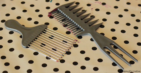"dollar store combs double as ""texture tools"""