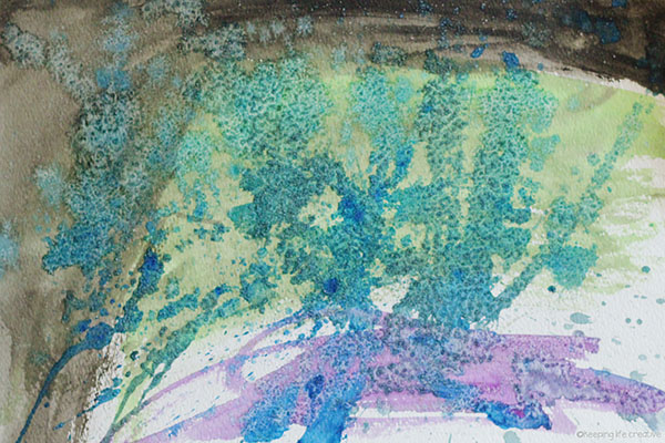 Too wet to go out? Create rainy day Watercolor and Salt Rain Art using drippy watercolor paint, and an extra salty surprise to emulate rain's texture. Inspired by Come On, Rain! by Karen Hesse