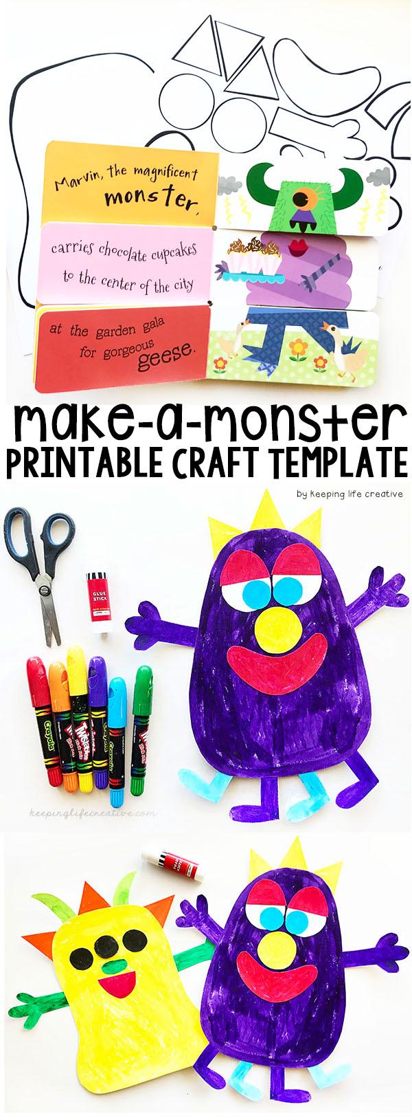 Make-a-Monster Printable Craft Template