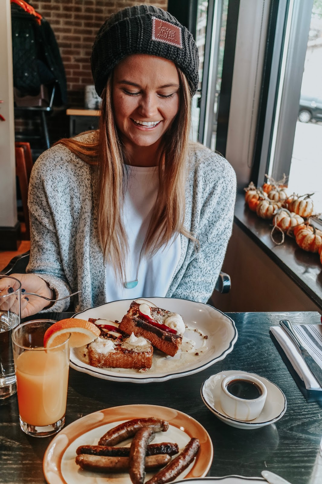 Tampa blogger enjoying french toast and more brunch items at Heritage Tavern in Madison, Wisconsin