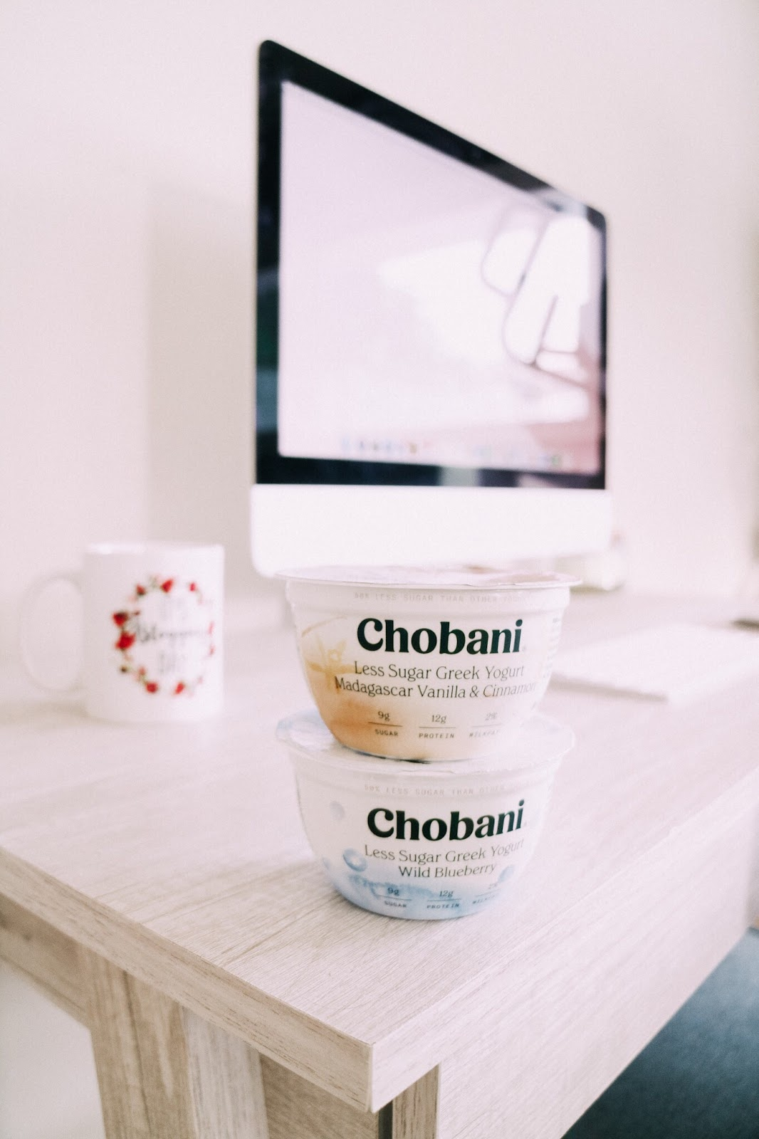 Chobani Less Sugar Greek Yogurt in Tampa blogger's home office