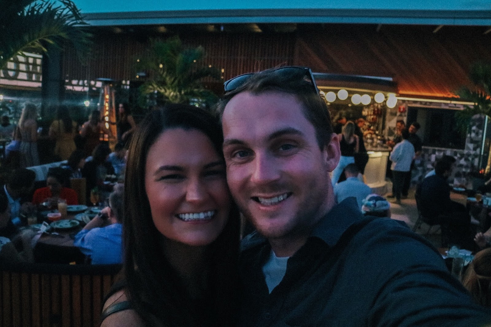 Tampa Bay blogger and her husband enjoying M.Bird, the new rooftop bar on top of Armature Works in Tampa, Florida