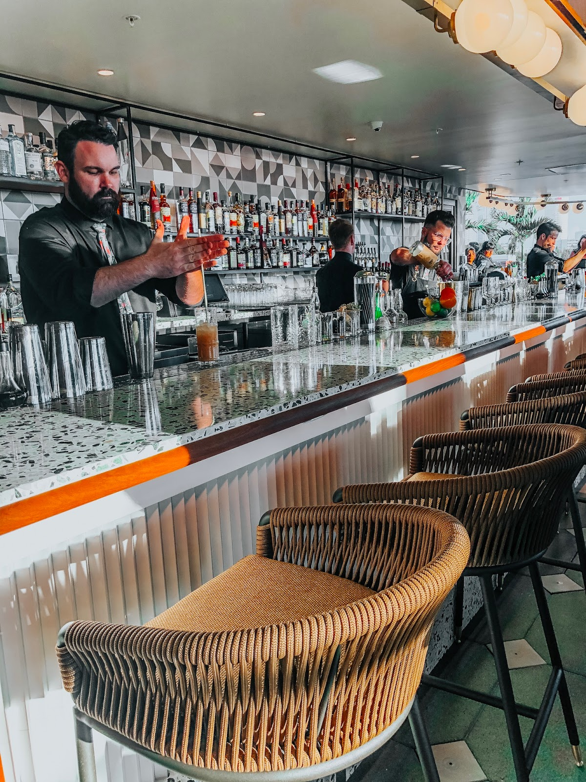 A view inside of the bar at M.Bird, the new rooftop bar on top of Armature Works in Tampa, Florida