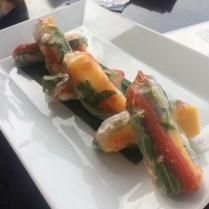 Mango and shrimp spring rolls