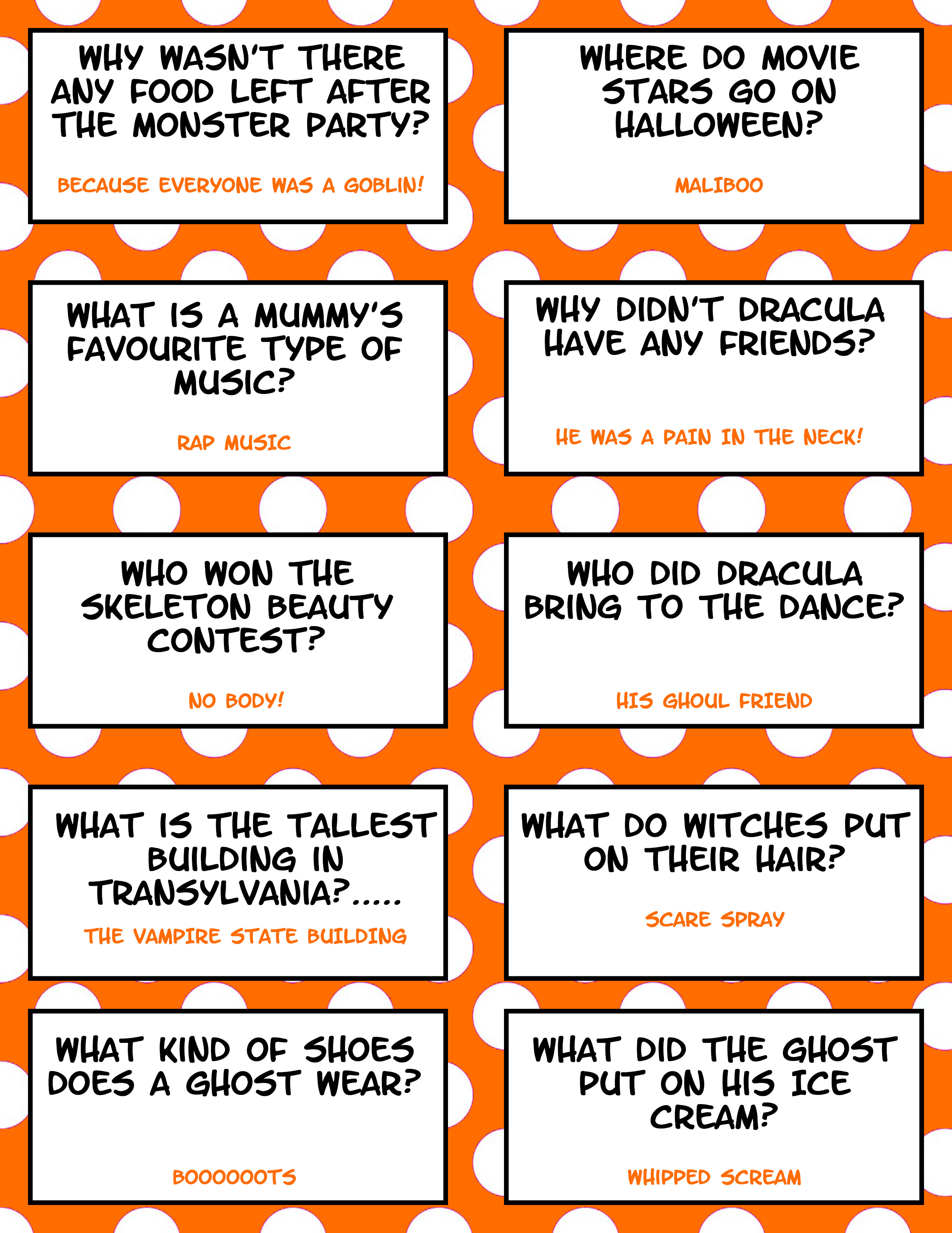 Free Printable Halloween Jokes For Kids Halloween Lunch Box Jokes