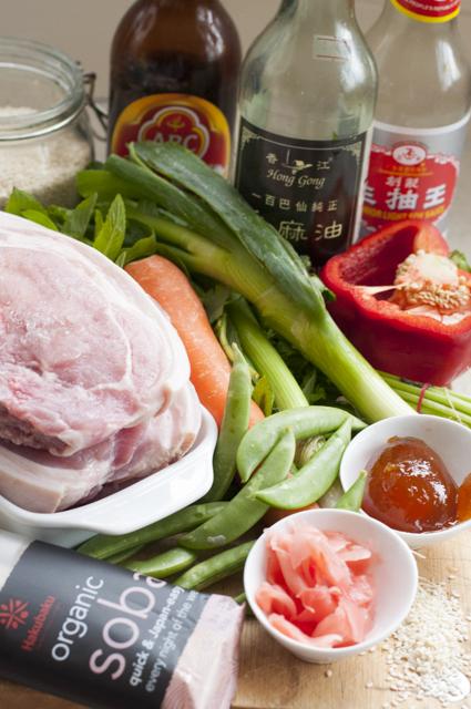sticky pork and soba noodle salad