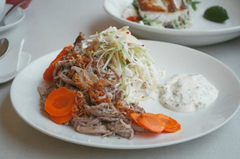 Shredded Pork Shoulder with Apple and Fennel Salad with Jalapeño Yoghurt andPickled Carrots.