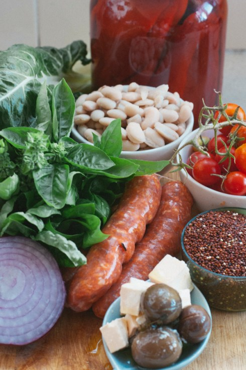 chorizo, silverbeet and quinoa pilaf ingredients