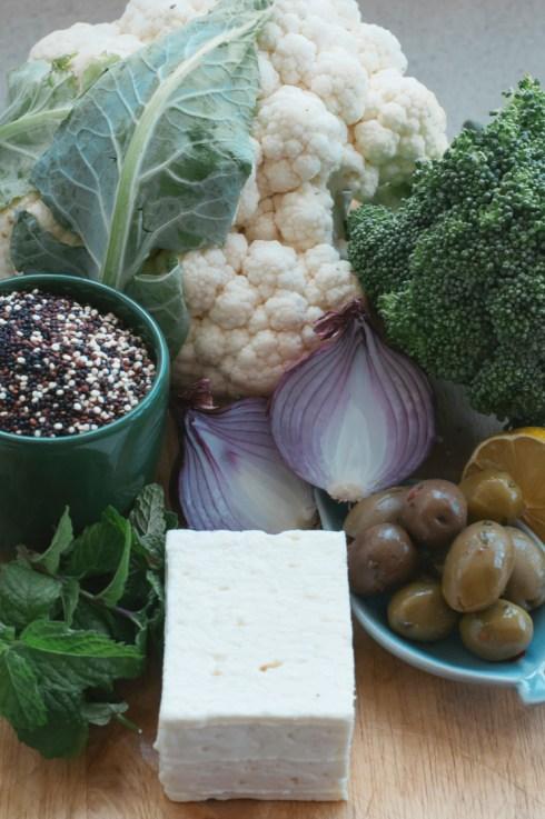 Cruciferous and quinoa salad ingredients