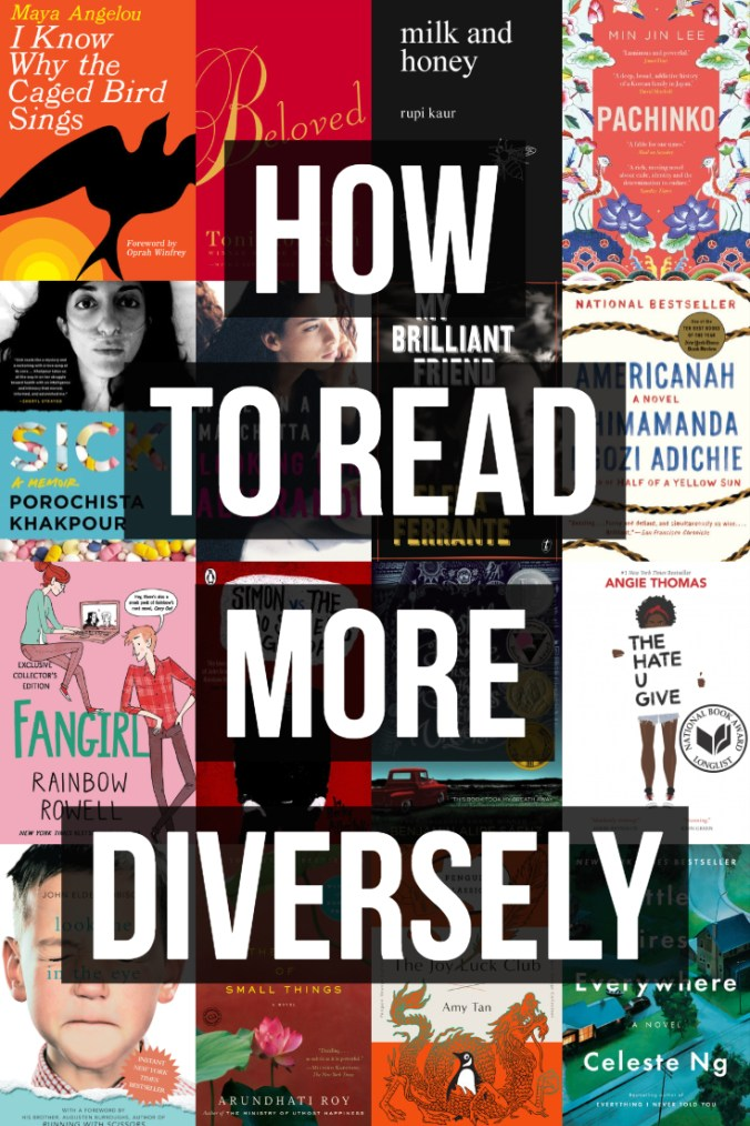 How To Read More Diversely - Text Overlaid on Book Covers - Keeping Up With The Penguins
