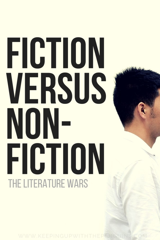 Literature Wars Fiction Versus Non Fiction - Black Text Overlaid on Image of Man Facing Away on a White Background - Keeping Up With The Penguins