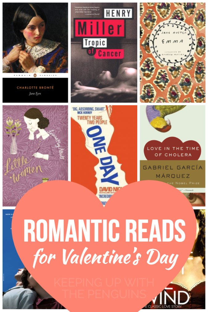 Romantic Reads For Valentines Day - White Words in Love Heart Overlaid on Collage of Book Covers - Keeping Up With The Penguins