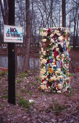 Plastic bale artwork by Charlotte artist Kurt Warnke